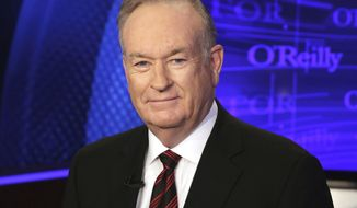 "FILE - This Oct. 1, 2015 file photo shows Bill O'Reilly of the Fox News Channel program ""The O'Reilly Factor"" in New York. The Fox News Channel says the company knew a news analyst planned to file a sexual harassment lawsuit against O'Reilly when it renewed the popular personality's contract in February 2017. The New York Times reported Saturday, Oct. 21, 2017, the company renewed the TV host's contract after he reached a $32 million settlement with the analyst. (AP Photo/Richard Drew, File)"