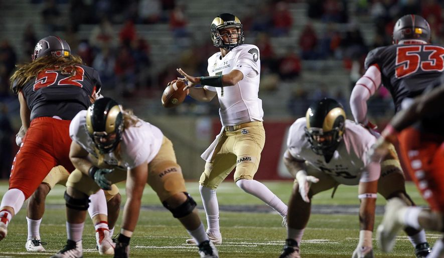 Colorado State quarterback Nick Stevens (7) looks to throw during the first half of an NCAA college football game against New Mexico in Albuquerque, N.M., Friday, Oct. 20, 2017. (AP Photo/Andres Leighton)