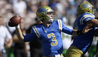 UCLA quarterback Josh Rosen passes during the first half of an NCAA college football game against Oregon, Saturday, Oct. 21, 2017, in Pasadena, Calif. (AP Photo/Mark J. Terrill)