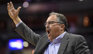 Detroit Pistons coach Stan Van Gundy gestures during the first half of the team's NBA basketball game against the Washington Wizards, Friday, Oct. 20, 2017, in Washington. (AP Photo/Nick Wass)