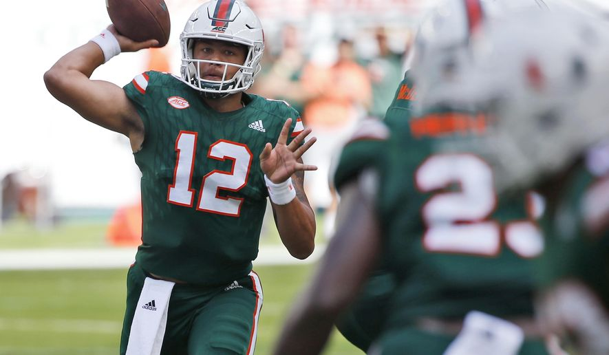 Miami quarterback Malik Rosier (12) throws a pass during the first half of an NCAA College football game against Syracuse, Saturday, Oct. 21, 2017 in Miami Gardens, Fla. (AP Photo/Wilfredo Lee)