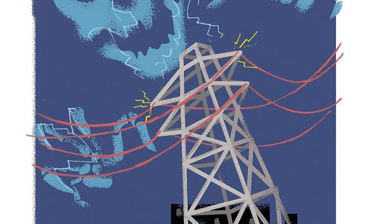 Illustration on the risk of EMP attacks on the nation's power grid by Linas Garsys/The Washington Times