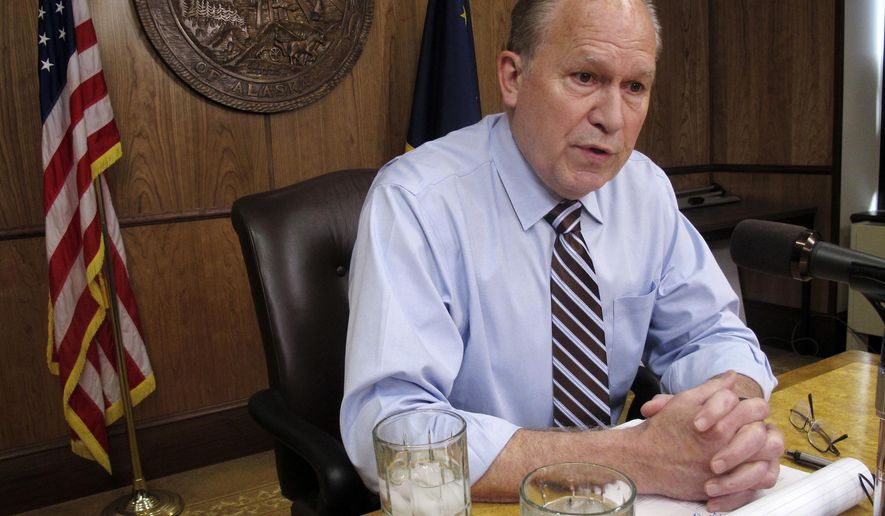 FILE - In this June 8, 2017 file photo, Alaska Gov. Bill Walker meets with reporters in Juneau. Walker said he wouldn't go through the hassle and expense of calling another special session this year if he didn't expect Alaska legislators to pass the bills on his agenda. But Walker faces an uphill battle in selling skeptical senators on his proposal to implement a new tax on wages to help address a multibillion-dollar budget deficit that has persisted amid low oil prices. (AP Photo/Becky Bohrer, File)