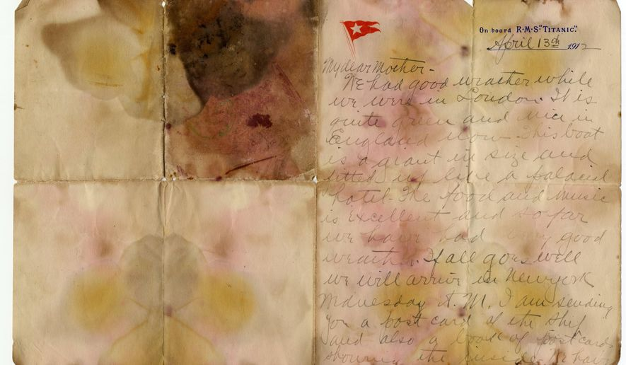 Undated photo issued Sunday oct. 22, 2017, by Henry Aldridge and Son Auctioneers, shows a letter written by first class Titanic passenger Alexander Holversson, before the auction.  The handwritten letter on embossed Titanic stationery written by Alexander Oskar Holverson while aboard the doomed RMS Titanic, on April 13, 1912 a day before the ship sank, sold Saturday Oct. 21, 2017, for 126,000 pounds (dlrs US 166,000) at auction in England. (Henry Aldridge and Son Actioneers via AP)