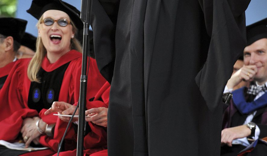 FILE - In this May 27, 2010, file photo, actress Meryl Streep, left, reacts as comedian Jimmy Tingle, graduating with a masters degree from the Kennedy School of Government, delivers the commencement address during thenHarvard University commencement exercises in Cambridge, Mass. Tingle said he plans to run for lieutenant governor of Massachusetts in the 2018 election. (AP Photo/Josh Reynolds, File)