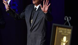 Alan Jackson speaks during his induction into the Country Music Hall of Fame on Sunday, Oct. 22, 2017, in Nashville, Tenn. (Andrew Nelles/The Tennessean via AP)