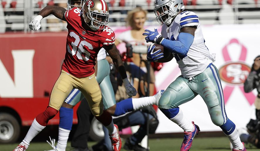 Dallas Cowboys running back Ezekiel Elliott, right, runs for a touchdown against San Francisco 49ers cornerback Dontae Johnson (36) during the second half of an NFL football game in Santa Clara, Calif., Sunday, Oct. 22, 2017. (AP Photo/Marcio Jose Sanchez)