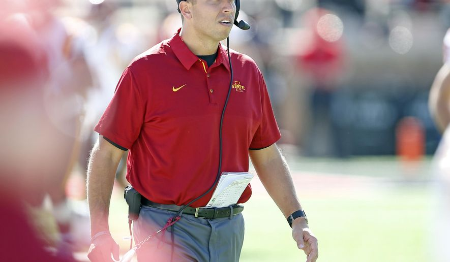 Iowa State coach Matt Campbell walks down the field during an NCAA football game against Texas Tech, Saturday, Oct. 21, 2017, at Jones AT&T Stadium in Lubbock, Texas. (Brad Tollefson/Lubbock Avalanche-Journal via AP)