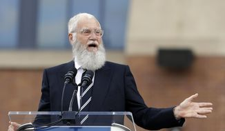 In this Saturday, Oct. 7, 2017, file photo, David Letterman speaks during the unveiling of a Peyton Manning statue outside of Lucas Oil Stadium, in Indianapolis. Letterman is being honored with the Mark Twain Prize for American Humor. He'll receive the lifetime achievement award Sunday, Oct. 22, 2017, at Washington's Kennedy Center. (AP Photo/Darron Cummings, File)