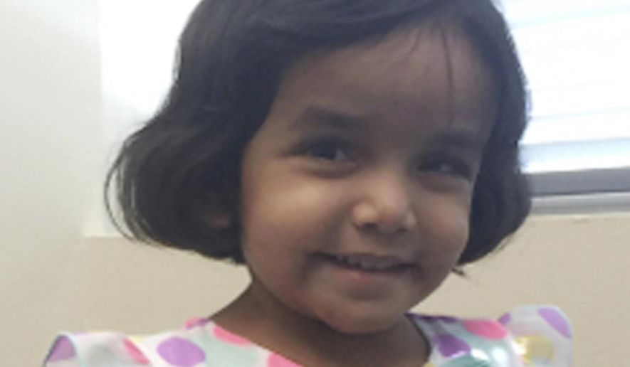 This undated photo provided by the Richardson Texas Police Department shows 3-year-old Sherin Mathews. (Richardson Texas Police Department via AP)