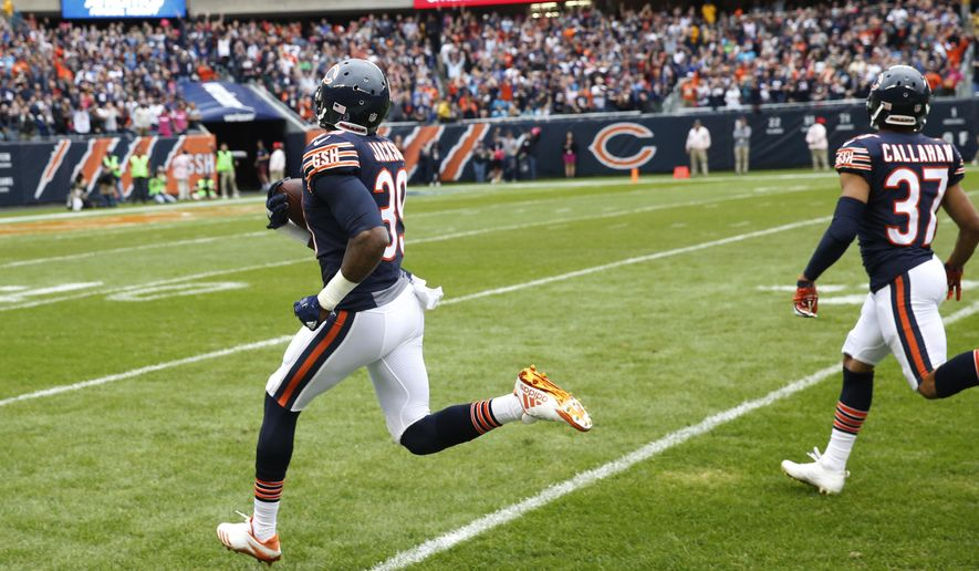 Chicago Bears free safety Eddie Jackson (39) returns a fumble for a 75-yard touchdown during the first half of an NFL football game against the Carolina Panthers, Sunday, Oct. 22, 2017, in Chicago. (AP Photo/Charles Rex Arbogast)