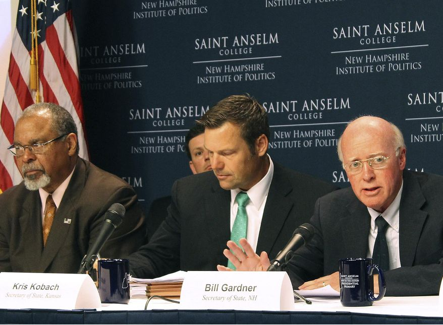 FILE - In this Tuesday, Sept. 12, 2017 file photo, New Hampshire Secretary of State Bill Gardner, right, introduces one of the speakers at a meeting of the Presidential Advisory Commission on Election Integrity in Manchester, N.H. Kansas Secretary of State Kris Kobach, center, and former Ohio Secretary of State Ken Blackwell, left, also attend. The information coming out of President Donald Trump's commission to investigate voter fraud has frustrated not only reporters and senators but now even members of the commission. (AP Photo/Holly Ramer, File)