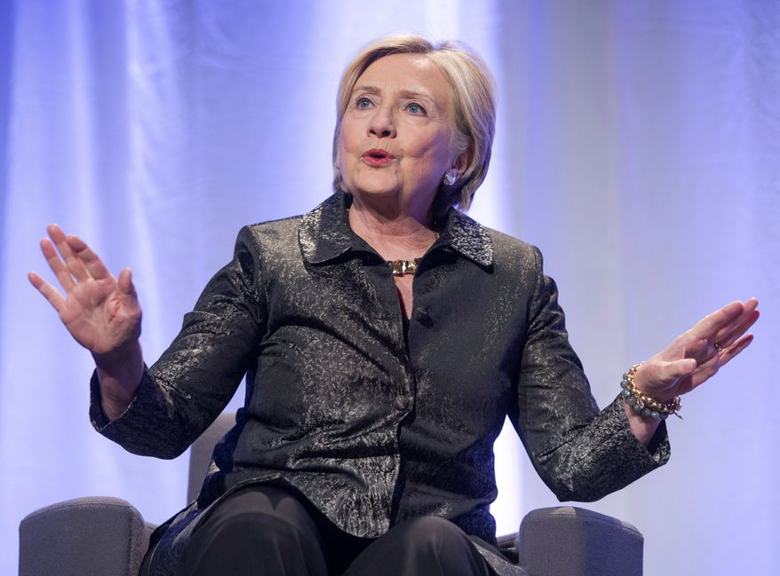 """Former Secretary of State Hillary Clinton promotes her new book """"What Happened"""" on Monday, Oct. 23, 2017 in Montreal. (Ryan Remiorz/The Canadian Press via AP) ** FILE **"""