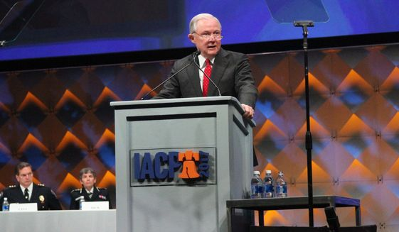 U.S. Attorney General Jeff Sessions speaks at the International Association of Chiefs of Police conference Monday, Oct. 23, 2017, in Philadelphia. Sessions on Monday designated the gang, MS-13, as a priority for a federal task force that traditionally pursued cartels and drug kingpins. (AP Photo/Michael Balsamo)
