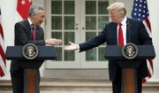 President Donald Trump shakes hands with Singapore's Prime Minister Lee Hsien Loong during a joint statement in the Rose Garden of the White House, Monday, Oct. 23, 2017, in Washington. (AP Photo/Evan Vucci)
