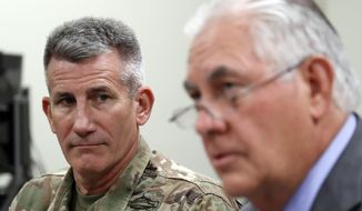 On separate occasions this week, Secretary of State Rex W. Tillerson (right) and Army Gen. John Nicholson, the top U.S. commander in Afghanistan, spoke publicly of Washington and Moscow's shared interests in the fight that could also align with each country's larger regional security goals. (Associated Press/File)