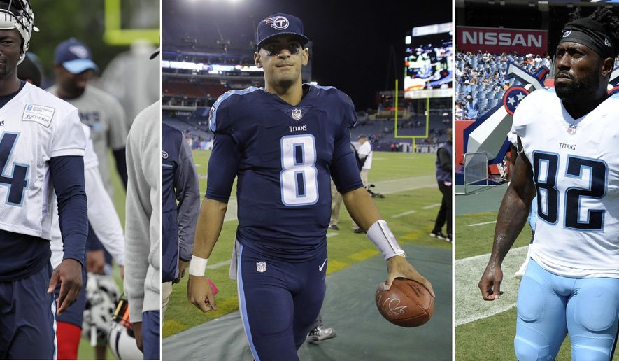 FILE - At left, in a June 15, 2017, file photo, Tennessee Titans wide receiver Corey Davis (84) leaves the field following an NFL football minicamp in Nashville, Tenn. At center, in an Oct. 16, 2017, file photo, Titans quarterback Marcus Mariota (8) leaves the field after defeating the Indianapolis Colts in an NFL football game in Nashville, Tenn. At right, in an Aug. 27, 2017, file photo, Titans tight end Delanie Walker (82) warms up before an NFL football preseason game against the Chicago Bears, in Nashville, Tenn.  The Titans finally have reached their bye, and they need the week off to heal up Mariota's sore hamstring and maybe, finally, get rookie Corey Davis back on the field. And tight end Delanie Walker's right ankle might need more than a week. (AP Photo/File)