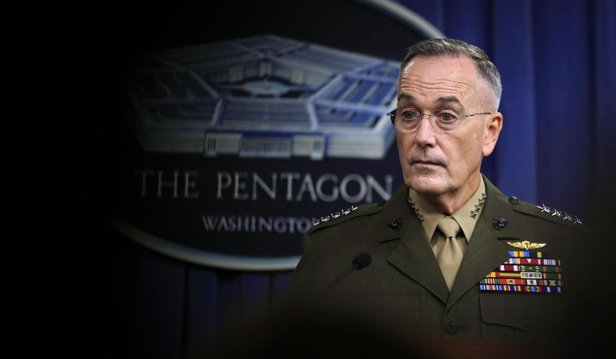 Joint Chiefs Chairman Gen. Joseph Dunford, speaks to reporters about the Niger operation during a briefing at the Pentagon, Monday, Oct. 23, 2017. (AP Photo/Manuel Balce Ceneta)