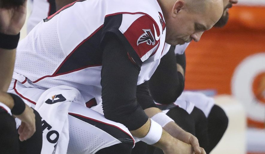 Atlanta Falcons kicker Matt Bryant sits on the bench after missing his second field goal against the New England Patriots during the second half of an NFL football game in Foxborough, Mass., Sunday, Oct. 22, 2017. (Curtis Compton/Atlanta Journal-Constitution via AP)