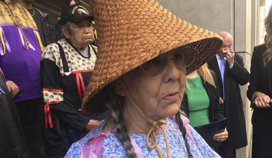 Carol Logan, an elder from the Confederated Tribes of Grand Ronde, speaks during a hearing in Portland, Ore., Monday, Oct. 23, 2017. Lawyers for the government and a trio of tribal elders argued in Portland, Monday whether a lawsuit over the destruction of a sacred site should continue. (AP Photo/Steven DuBois)
