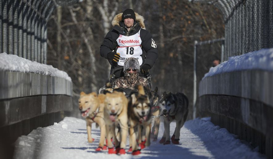 FILE- In this March 4, 2017, file photo, four-time and defending champion Dallas Seavey mushes during the ceremonial start of the Iditarod Trail Sled Dog Race in Anchorage, Alaska. Seavey denies he administered banned drugs to his dogs in this year's race, and has withdrawn from the 2018 race in protest. The Iditarod Trail Committee on Monday, Oct. 23, 2017, identified Seavey as the musher who had four dogs test positive for a banned opioid pain reliever after finishing the race last March in Nome. (AP Photo/Michael Dinneen, File)