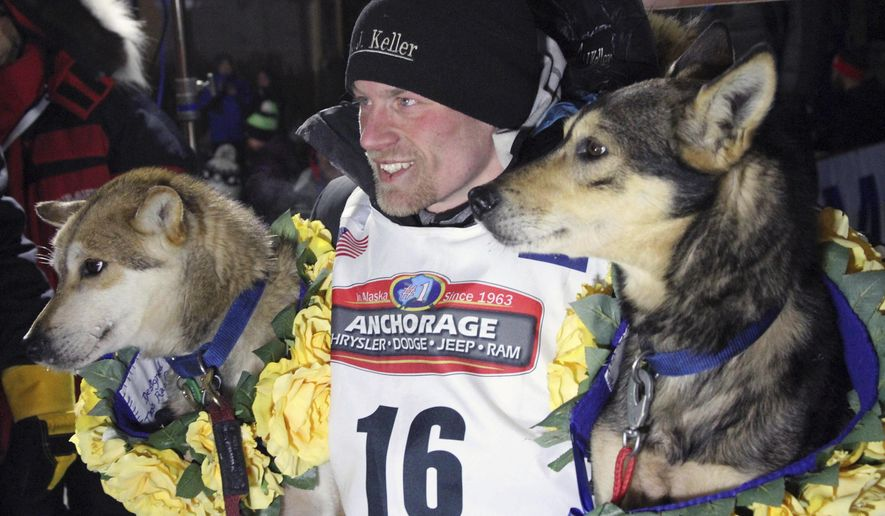 FILE - In this March 15, 2016, file photo, Dallas Seavey poses with his lead dogs Reef, left, and Tide after finishing the Iditarod Trail Sled Dog Race in Nome, Alaska. Seavey won his third straight Iditarod, for his fourth overall title in the last five years. Four-time Iditarod champion Dallas Seavey denies he administered banned drugs to his dogs in this year's race, and has withdrawn from the 2018 race in protest. The Iditarod Trail Committee on Monday identified Seavey as the musher who had four dogs test positive for a banned opioid pain reliever after finishing the race last March in Nome. (AP Photo/Mark Thiessen, File)