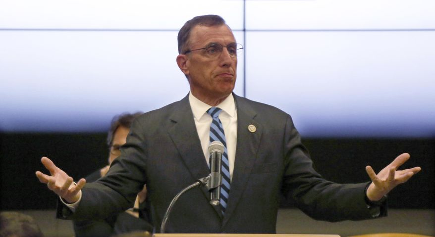 FILE- In this file photo from July 7, 2017, U.S. Rep. Tim Murphy, R- Pa., speaks at the National Energy Technology Laboratory (NETL) Pittsburgh site, in South Park Township, Pa. Pennsylvania will hold a special election March 13, 2018, to complete the term of Murphy, an anti-abortion lawmaker who resigned after his hometown newspaper revealed he had suggested a mistress get an abortion when they thought she might be pregnant. (AP Photo/Keith Srakocic, File)