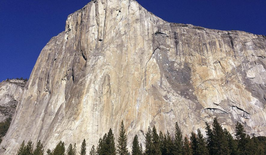 FILE - This Jan. 14, 2015 file photo shows El Capitan in Yosemite National Park, Calif. Brad Gobright and climbing partner Jim Reynolds set a new speed record for ascending the Nose route of El Capitan in Yosemite National Park on Saturday, Oct. 21, 2017. The two climbers raced up the nearly 90-degree, 2,900-foot precipice in 2 hours and 19 minutes. (AP Photo/Ben Margot, File)