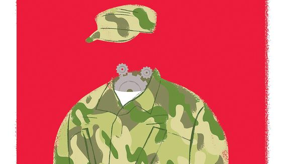 Illustration on retooling the military for the future by Linas Garsys/The Washington Times