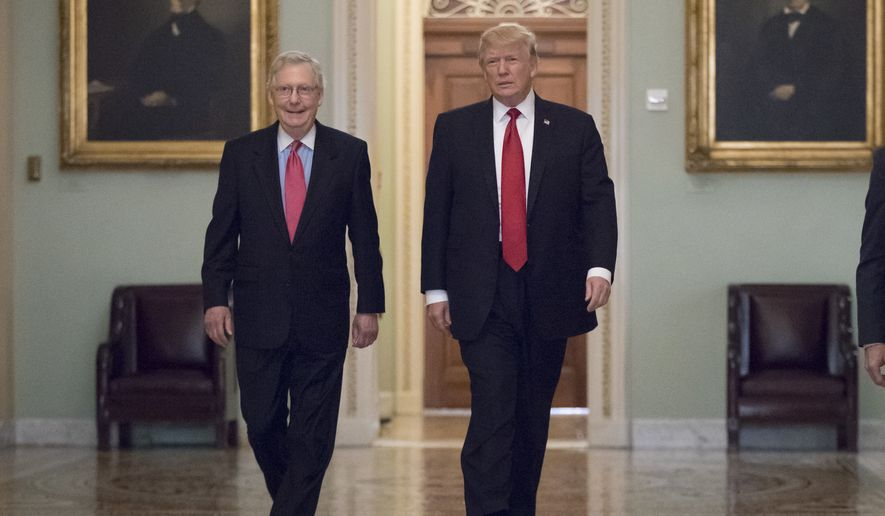 President Donald Trump, escorted by Senate Majority Leader Mitch McConnell, R-Ky., left, arrives on Capitol Hill to have lunch with Senate Republicans and push for his tax reform agenda, in Washington, Tuesday, Oct. 24, 2017. (AP Photo/J. Scott Applewhite)