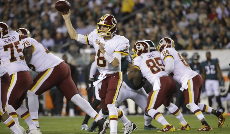 Washington Redskins quarterback Kirk Cousins (8) in action during an NFL football game against the Philadelphia Eagles, Monday, Oct. 23, 2017, in Philadelphia. (AP Photo/Matt Rourke)