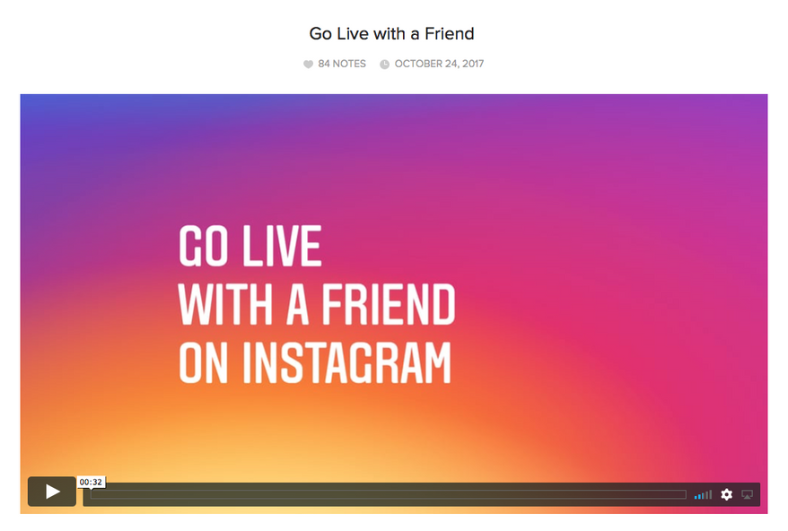 "Screen capture from Instagram's blog post announcing the new ""Live with a Friend"" livestreaming option. (Instagram)"