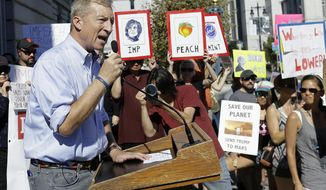 Tom Steyer speaks at a rally calling for the impeachment of President Donald Trump in San Francisco, Tuesday, Oct. 24, 2017. (AP Photo/Jeff Chiu)