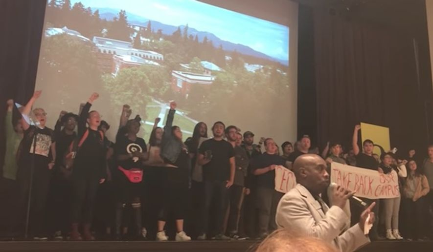 University of Oregon President Michael H. Schill issued an op-ed Monday defending free speech and criticizing the student protesters who shut down his state-of-the-university speech earlier this month. (YouTube/@The Oregonian)