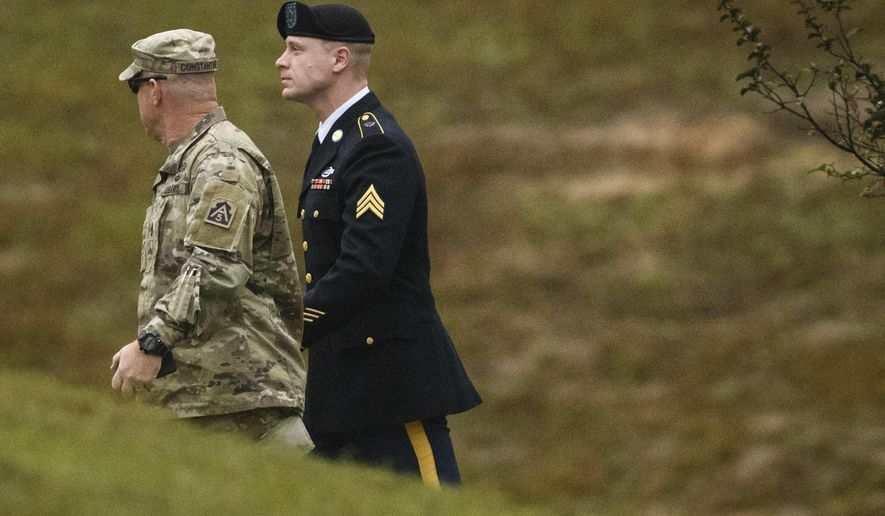 Sgt. Bowe Bergdahl arrives to the Fort Bragg courthouse for a sentencing hearing on Monday, Oct. 23, 2017, on Fort Bragg, N.C. Bergdahl, who walked off his base in Afghanistan in 2009 and was held by the Taliban for five years, faces up to life in prison after pleading guilty last week to desertion and misbehavior before the enemy. (Andrew Craft/The Fayetteville Observer via AP)