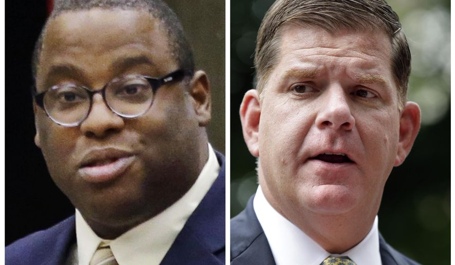 FILE - This undated combo of file photos show Boston City Councilman Tito Jackson, left, during a Boston council meeting on Jan. 13, 2016, and Boston Mayor Marty Walsh, right, during a news conference on July 11, 2017. Jackson is challenging Walsh for the mayor's seat in the Nov. 7, 2017, election. The two candidates are scheduled to participate in a debate on Tuesday, Oct. 24. (AP Photo, File)