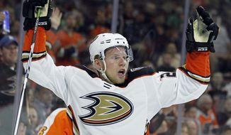 Anaheim Ducks' Ondrej Kase reacts after scoring a goal during the first period of an NHL hockey game against the Philadelphia Flyers, Tuesday, Oct. 24, 2017, in Philadelphia. (AP Photo/Tom Mihalek)