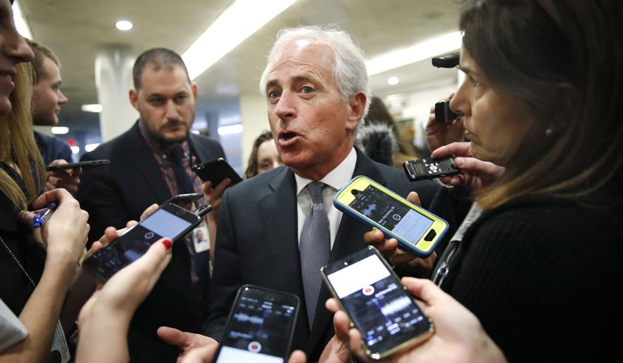 In a Thursday, Oct. 19, 2017, file photo, Sen. Bob Corker, R-Tenn., speaks to reporters while heading to vote on budget amendments, in Washington. (AP Photo/Jacquelyn Martin, File)