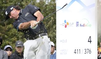 Pat Perez of the United States hits a ball on the fourth hole during the first round of the CJ Cup at Nine Bridges, as the first official PGA Tour in South Korea, on Jeju Island, South Korea, Thursday, Oct. 19, 2017. (Park Ji-ho/Yonhap via AP)