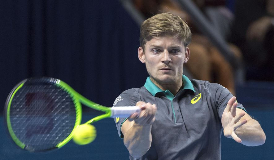 Belgium's David Goffin returns a ball to Germany's Peter Gojowczyk during their first round match at the Swiss Indoors tennis tournament at the St. Jakobshalle in Basel, Switzerland, on Tuesday, Oct. 24, 2017. (Georgios Kefalas/Keystone via AP)