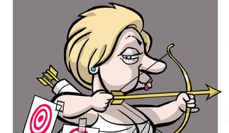 Illustration on Hillary's new troubles by Alexander Hunter/The Washington Times