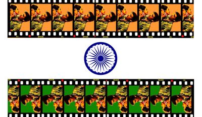 Illustration on the sexualized content of Indian cinema by Alexander Hunter/The Washington Times