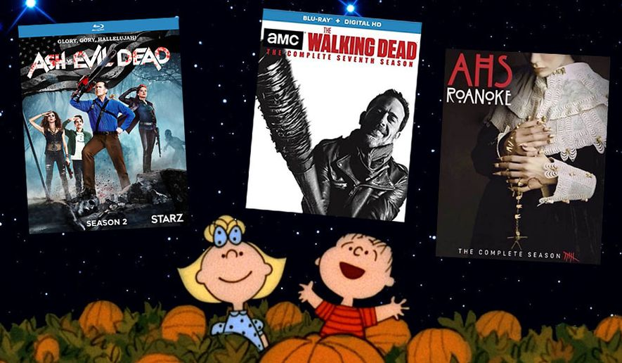 "Best for Halloween Blu-ray and 4K UHD sets include Peanuts Holiday Collection, Ash vs Evil Dead: The Complete Second Season,"" ""American Horror Story: Roanoke,"" and ""The Walking Dead: The Complete Seventh Season."""