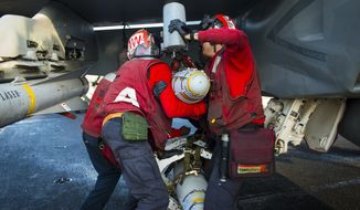Sailors assigned to the Fighting Redcocks of Strike Fighter Squadron (VFA) 22 load a Mk 82/Blu 111 500 pound bomb on an F/A-18F Super Hornet on the flight deck of aircraft carrier USS Carl Vinson (CVN 70). Carl Vinson is deployed in the U.S. 5th Fleet area of operations supporting Operation Inherent Resolve, strike operations in Iraq and Syria as directed, maritime security operations, and theater security cooperation efforts in the region. (U.S. Navy photo by Mass Communication Specialist 2nd Class Scott Fenaroli/Released)