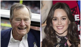 "In this combination photo, former president George H.W. Bush appears at an NFL football game in Houston between the Buffalo Bills and the Houston Texans on Nov. 4, 2012, left, and actress Heather Lind appears at AMC's ""Turn: Washington's Spies"" season three premiere event in New York on April 20, 2016. Lind accused former President George H.W. Bush of touching her from behind while she was posing for a photo alongside him and telling her a dirty joke at a Houston event in 2014. The former president's office apologized Wednesday and offered an explanation. (AP Photo/File)"