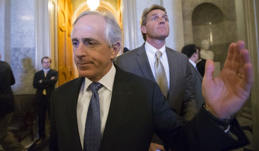 "Sen. Bob Corker (left) of Tennessee and Sen. Jeff Flake of Arizona have announced they will leave Capitol Hill after next year. President Trump is lashing out at the two Republican senators, who have seared him with criticism, commenting on his Twitter account Wednesday that neither is running for re-election because ""they had zero chance of being elected."" (Associated Press/File)"