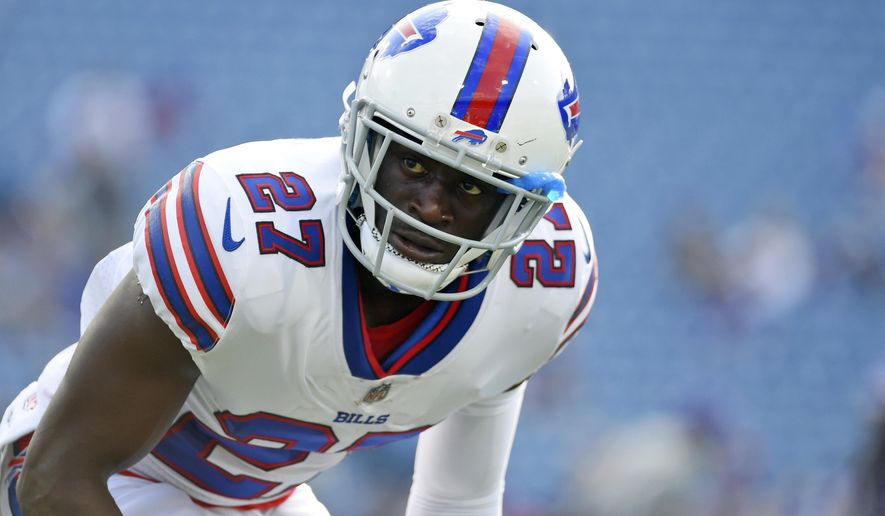 FILE - In this Aug. 10, 2017, file photo, Buffalo Bills cornerback Tre'Davious White warms up before a preseason NFL football game in Orchard Park, N.Y. Six games into his rookie season, White has had a tendency to brood over his miscues rather than crow about his successes.  (AP Photo/Rich Barnes, File)