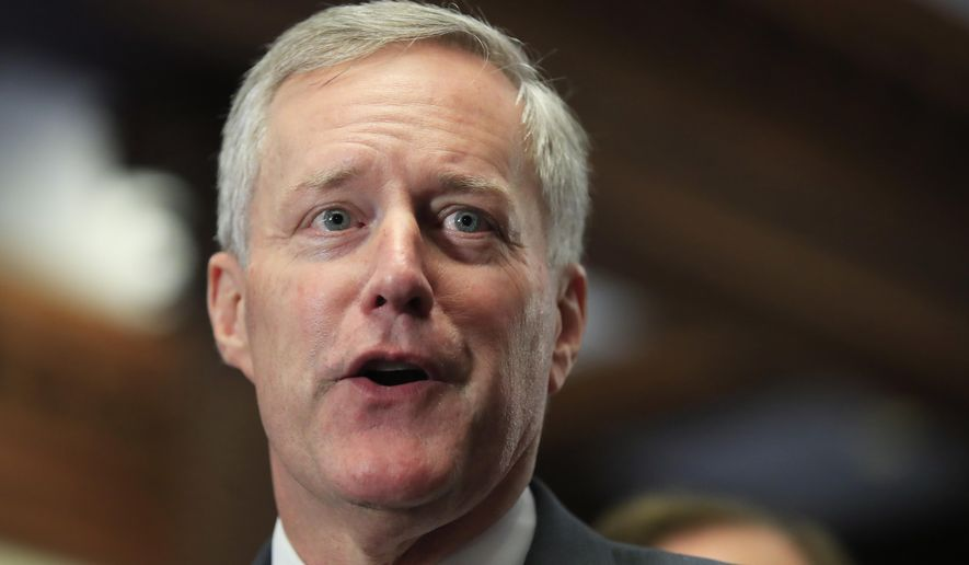 Rep. Mark Meadows, North Carolina Republican and leader of the hard-line House Freedom Caucus, said enough of his members were ready to vote against the stopgap spending bill to prevent it from passing without Democratic votes. (Associated Press/File)