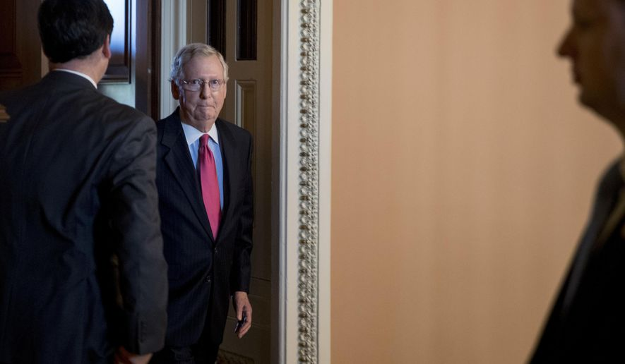 Senate Majority Leader Mitch McConnell, R-Ky., leaves a meeting with President Donald Trump on his tax reform agenda, Capitol Hill in Washington, Tuesday, Oct. 24, 2017.