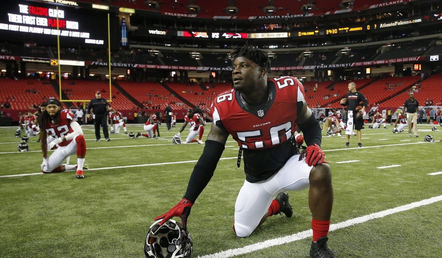 FILE - In this Sept. 1, 2016, file photo, Atlanta Falcons linebacker Sean Weatherspoon warms up before a preseason NFL football game against the Jacksonville Jaguars in Atlanta. The Falcons have signed Weatherspoon for his third stint with the team, adding depth to the position which lost rookie Duke Riley to a knee injury, the team announced Tuesday, Oct. 24, 2017. (AP Photo/John Bazemore, File)